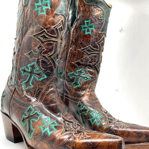 Corral Whiskey Turquoise 3 Cross Snipe Toe Boots 7